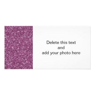 Brilho roxo impresso cartão com foto