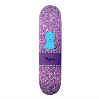 Brilho roxo pastel conhecido personalizado do gato shape de skate 20,6cm