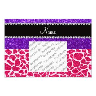 Brilho roxo personalizado do girafa cor-de-rosa co impressão de foto