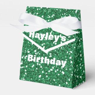 Brilho verde caixa impressa do favor de partido