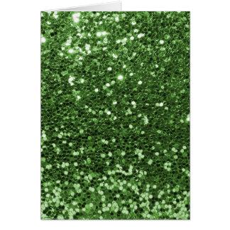 Brilho verde cartão comemorativo
