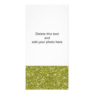 Brilho verde impresso cartão com foto