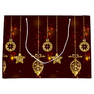 Brilho vermelho do feriado do Feliz Natal que Sacola Para Presentes Grande