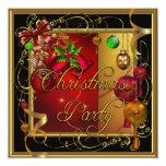 Brilho vermelho do Xmas do ouro da festa natalícia Convite Personalizado