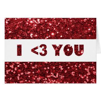 Brilho vermelho mim coração que você ama cartão comemorativo