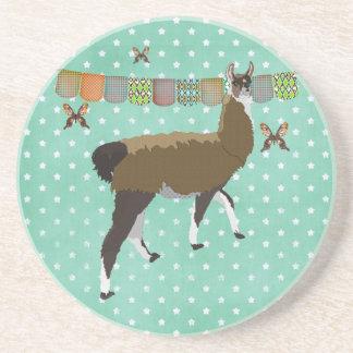 Brilliant Bronze Butterflies & Lucky  Llama Art Co Beverage Coaster