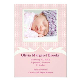 Brincalhão no anúncio cor-de-rosa do nascimento da convite 12.7 x 17.78cm