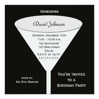 Brinde adulto da festa de aniversário convite quadrado 13.35 x 13.35cm