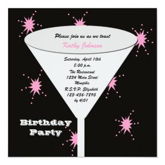 Brinde adulto da festa de aniversário para seus convite quadrado 13.35 x 13.35cm