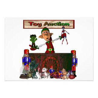 Brinque o duende do leilão que guardara brinquedos convite personalizado