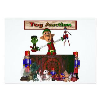 Brinque o duende do leilão que guardara brinquedos convite 12.7 x 17.78cm