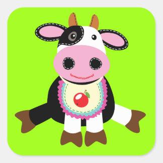 brinquedo da vaca adesivo quadrado