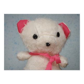 Brinquedo do urso branco convite personalizado