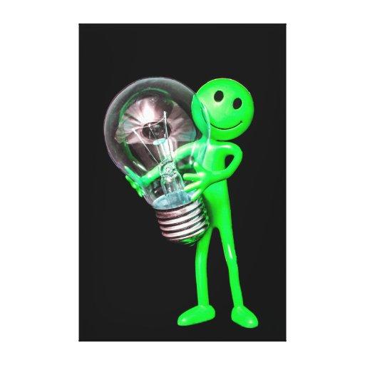 Brinquedo estrangeiro verde que guardara umas canv impressão de canvas envolvida