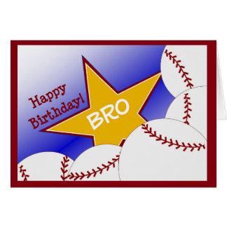 Bro - irmão Loving do basebol do feliz aniversario Cartão Comemorativo