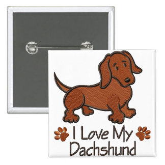 "Broche ""I love Dachshund"" Bóton Quadrado 5.08cm"