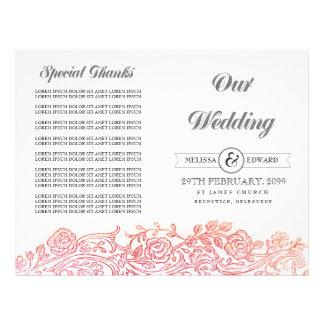 Brochura filigrana floral do programa do casamento panfletos
