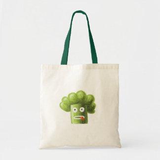 Brócolos engraçados dos desenhos animados sacola tote budget