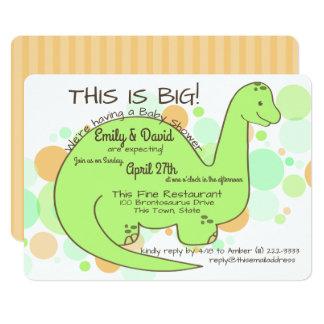 Brontosaurus do chá de fraldas do dinossauro convite 12.7 x 17.78cm