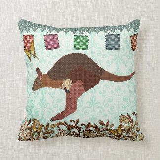 Bronze & Blush Wallaby Blue Misty Day Mojo Pillow