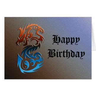 Bronze do azul de Yin Yang do dragão 2 Cartão Comemorativo