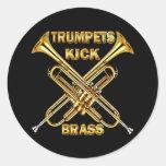 Bronze do pontapé das trombetas adesivo redondo