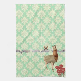 Bronze Vintage Llama & Butterfly Mint Julep Damask Hand Towels