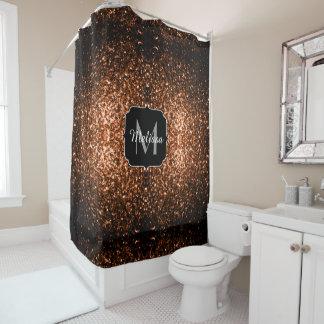Brown alaranjado de bronze brilha monograma dos cortina para chuveiro