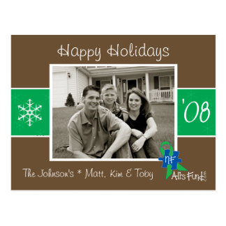 Brown & cartão com fotos verde do feriado