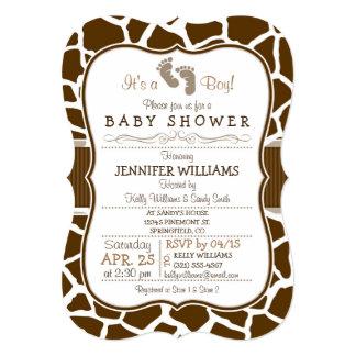 Brown, chá de fraldas animal do impressão do convite 12.7 x 17.78cm