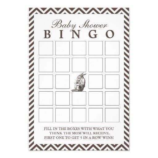 Brown Chevron listra cartões do Bingo do chá de fr Convites Personalizados