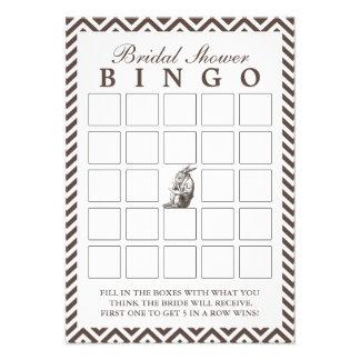 Brown Chevron listra cartões do Bingo do chá de pa Convites Personalizados