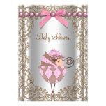 Brown cor-de-rosa peroliza o chá de fraldas da men convites personalizado