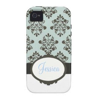 Brown & damasco azul capinhas iPhone 4/4S