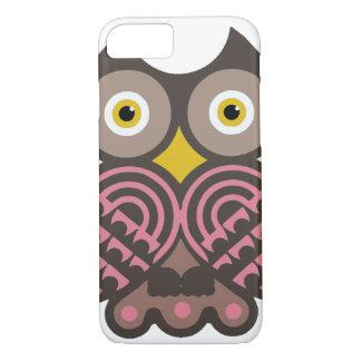 Brown e caso cor-de-rosa do iPhone 7 da coruja Capa iPhone 7