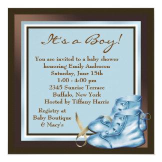 Brown e chá azul do bebé convite quadrado 13.35 x 13.35cm