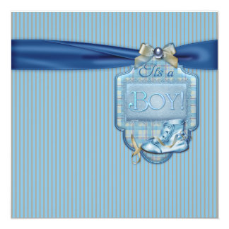 Brown e chá azul do bebé do vintage convite quadrado 13.35 x 13.35cm