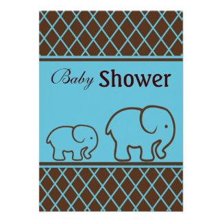 Brown e elefantes e chá de fraldas azuis dos diama convite personalizados