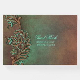 Brown e livro de hóspedes verde do casamento