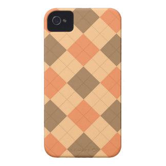 Brown e teste padrão alaranjado do argyle capa para iPhone