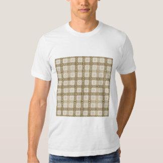 Brown e teste padrão bege da verificação camiseta