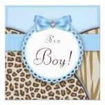 Brown elegante e chá azul do bebé convite quadrado 13.35 x 13.35cm