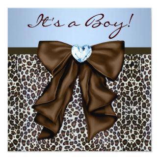 Brown elegante e chá de fraldas azul do leopardo convite quadrado 13.35 x 13.35cm