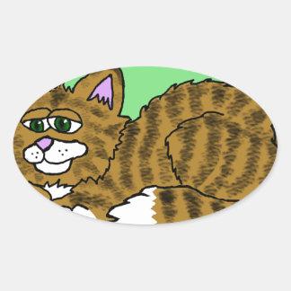 Brown listrou o gatinho dos desenhos animados com adesivo oval