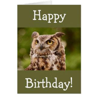 Brown manchou o cartão do aniversário da coruja