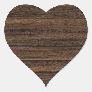 Brown resistiu à textura de madeira da parede adesivo coração