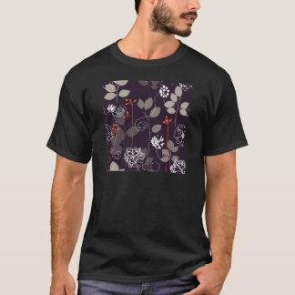 Brown/teste padrão floral queda alaranjada camiseta