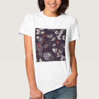 Brown/teste padrão floral queda alaranjada t-shirt