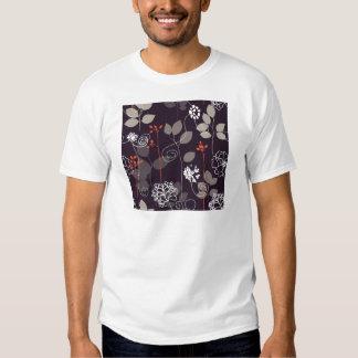 Brown/teste padrão floral queda alaranjada t-shirts
