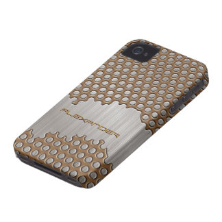 Brown & texto de alumínio escovado prata do capa para iPhone 4 Case-Mate